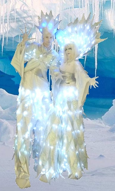 !Ice-Prince-&-Princess-Stilt-Walkers-Ice-Cave (Mindblower)