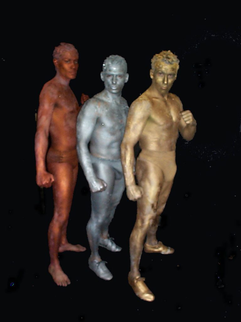 Olympic themed human statues