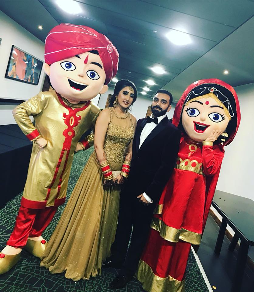 Asian wedding mascots