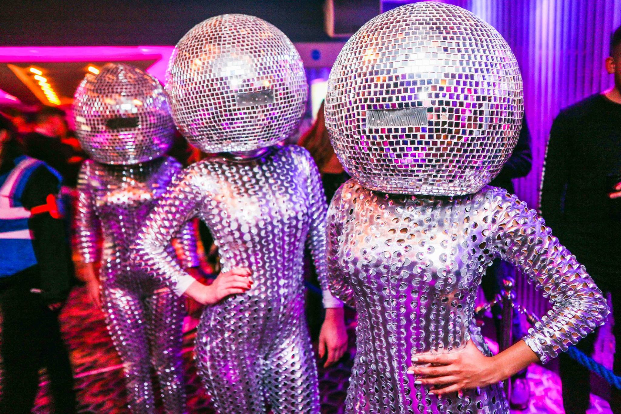 Disco Heads to meet and greet or dance with your guests