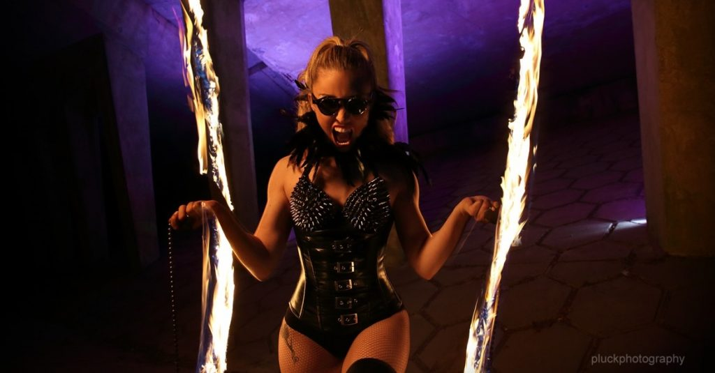 Kat McGur on Fire Poi This beautiful lady has many fire skills and has performed world wide too