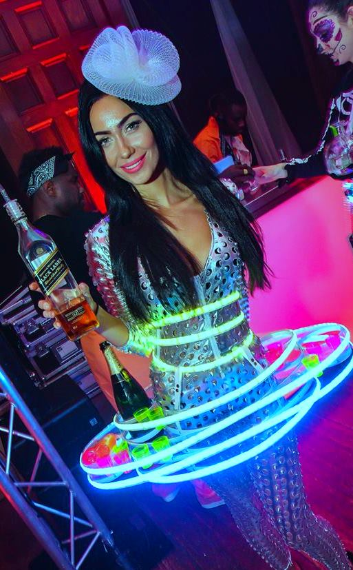 Gorgeous Hostess in our LED roaming bar
