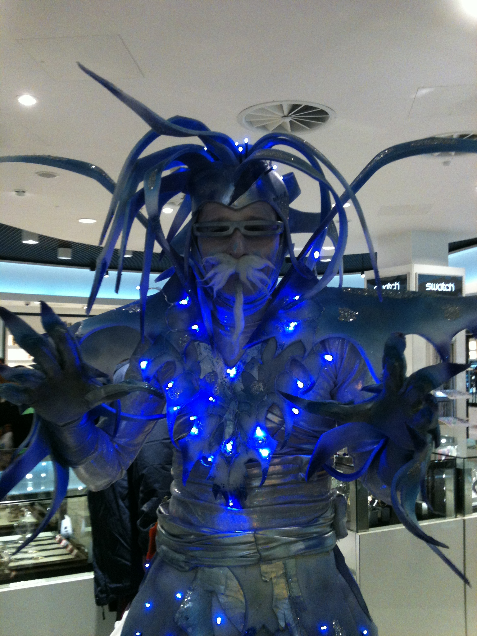 Christmas themed jack frost walkabout act