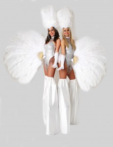 glamorous showgirls on stilts