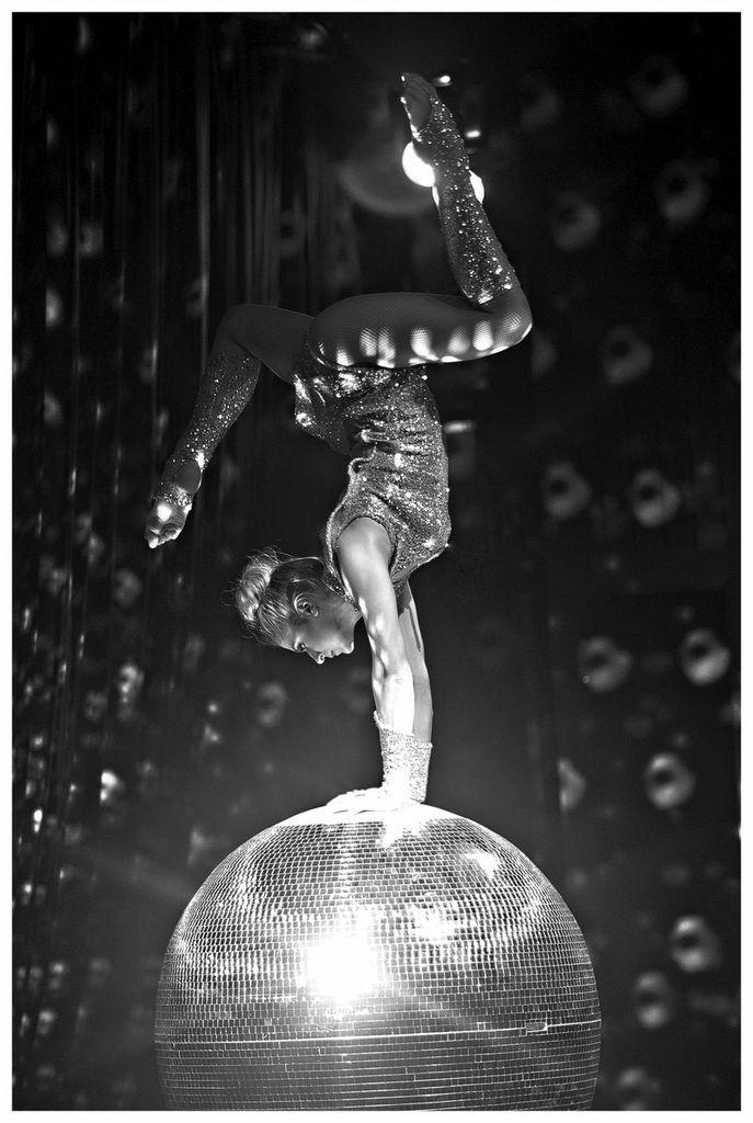 acro ball show on glitter ball