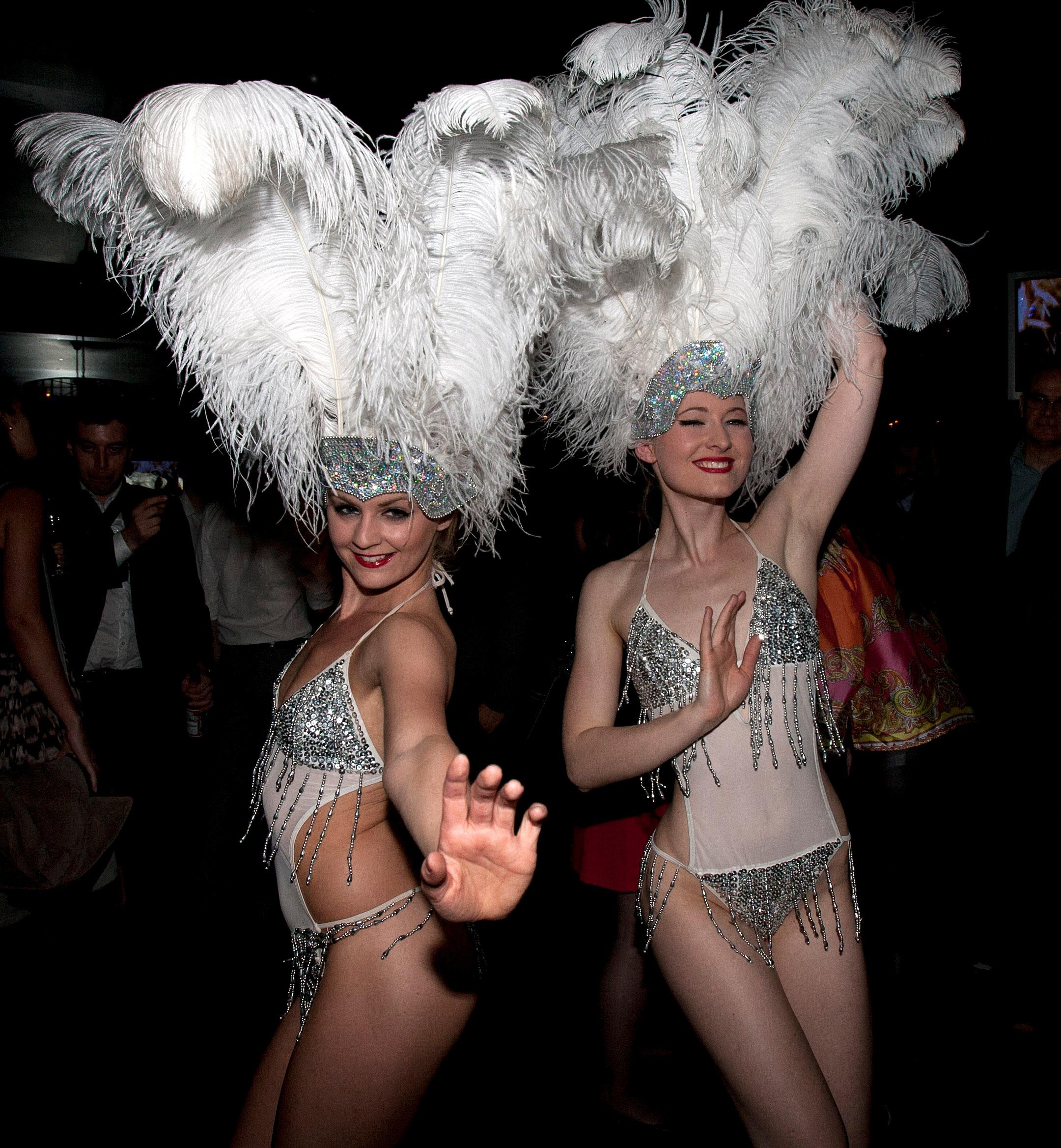 Sparkling showgirl dancers