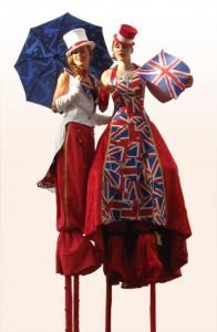 British styled stilt walkers