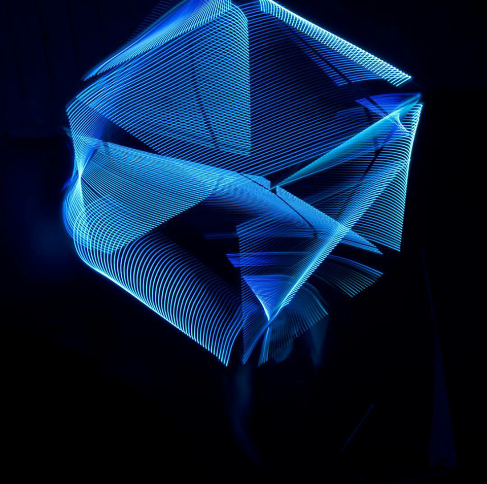 LED cube spinning act