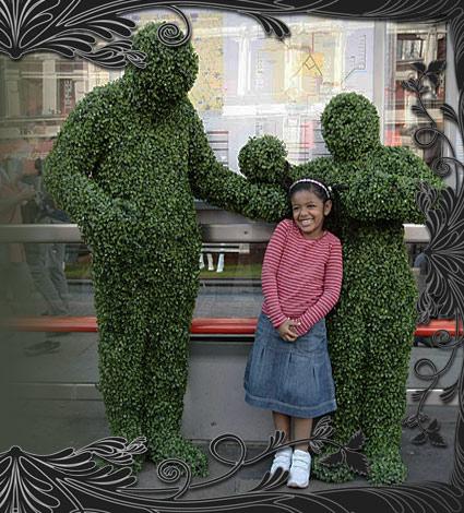 human hedgemen statues