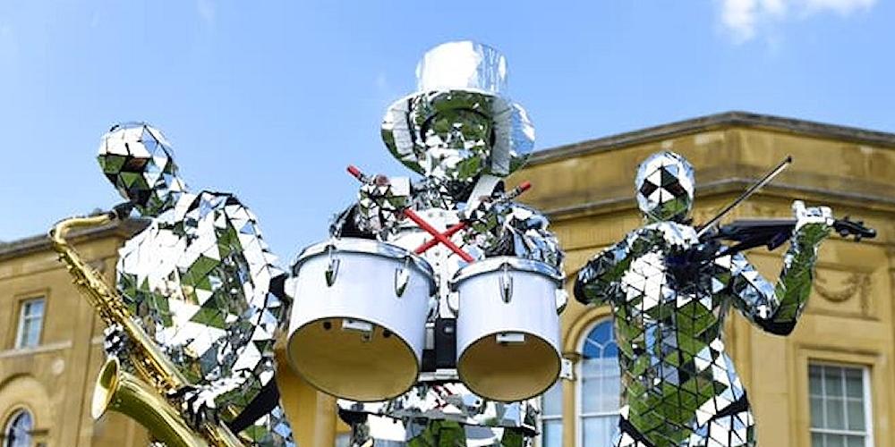 Mirror costumed musicians